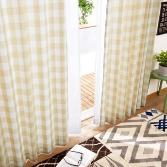 ギンガムチェック柄のカーテン&UVカット・遮熱・ミラーレースカーテンセット 「ベージュ」(約100×105(4枚))