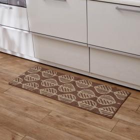 キッチンマット 洗える おしゃれ 安い 北欧 滑り止め 幅45cm 長さ120cm シンプル ベルメゾン ブラウン 茶色 リーフ 汚れが落ちやすいキッチンマット