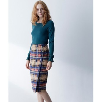 GRACE CONTINENTAL / グレースコンチネンタル シャギーチェックラップスカート