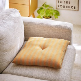 クッション おしゃれ 綿100%先染めボーダー柄の小座布団 小紫陽花 オレンジ 40cmx40cm