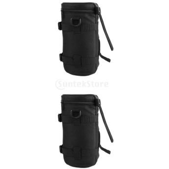 Perfk SLRカメラに対応 黒 防水 カメラレンズ プロテクター ポーチ ケース バッグ 2個 携帯型 多機能 実用的