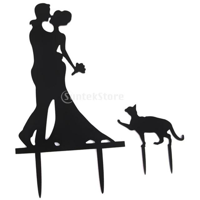 ノーブランド品 結婚式 ウェディング用 アクリル製 ウェディングケーキ トッパー 新郎新婦&猫型