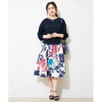 L size ONWARD(大きいサイズ) / エルサイズオンワード ビッグフラワープリント スカート