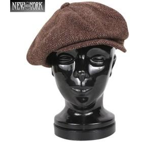 New York Hat ニューヨークハット 9038 HERRINGBONE NEWSBOY ニュースボーイ キャスケット Brown メンズ アメカジ ハンチング ヘリンボーン