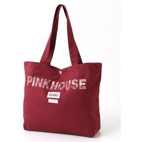PINK HOUSE / ピンクハウス チェックブーケプリントロゴアップリケトートバッグ