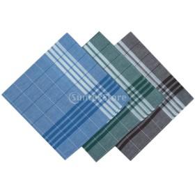 ノーブランド品  12個セット ストリップ チェック柄 綿 ハンカチ メンズ 柔らかい 高品質 全5色 - #4
