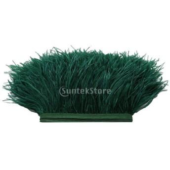 ダチョウの羽 フリンジ トリム 染め 1ヤード 飾り物 軽量 全31色 - 濃い緑色