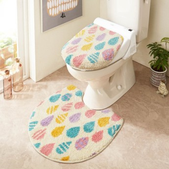 トイレマット しずく柄のふわもこトイレマット・フタカバー 単品・セット
