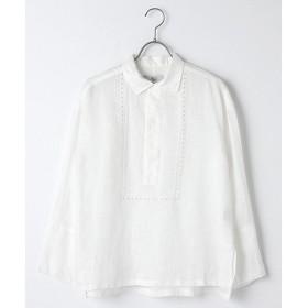 Harriss / ハリス リネン刺繍ヘンリーネックシャツ