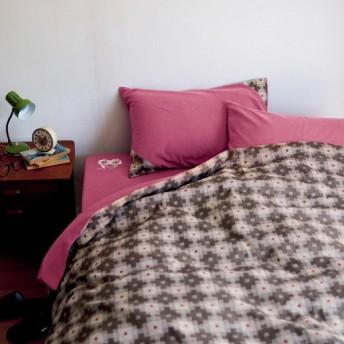 ベルメゾン 綿100%ジャカード織の布団カバー3点セット