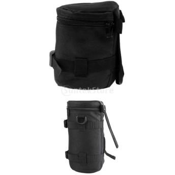 Perfk SLRに対応 2ピース入り ブラック 防水 カメラレンズプロテクター ポーチ フィルターケース カバー バッグ 便利性