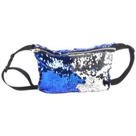 女性 キラキラ スパンコール ウエストバッグ ショルダーバッグ ファニーパック 化粧ポーチ 全6色 - ブルー+シルバー