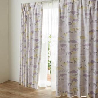 カーテン カーテン 裏面コーティングの遮光 遮熱 防音カーテン サファリ 約100×90 2枚 約100×110 2枚