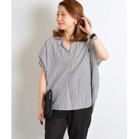 SHIPS for women / シップスウィメン ストライプ ビッグ スキッパーシャツ