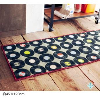 キッチンマット ベルメゾン レコード柄のキッチンマット 約45×120