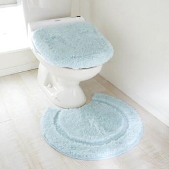 トイレマット トイレマットセット おしゃれ 北欧 標準 ふかふか ふわふわ サックス 標準/温水洗浄便座