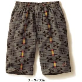 パンツ メンズ ズボン エスニック調ハーフパンツ ターコイズ系 メンズM メンズL