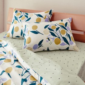 布団カバー シーツ 枕カバー ピローケース 綿100%の枕カバー2枚セット 木の実 イエロー 約43×63cm用