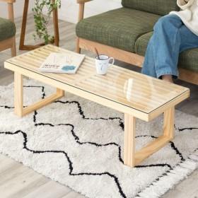 センターテーブル ローテーブル ガラス天板 ディスプレイ棚 ワイド ナチュラル 木製 すべり止め付き 西海岸 天然木 無垢 パイン材 おしゃれ 北欧