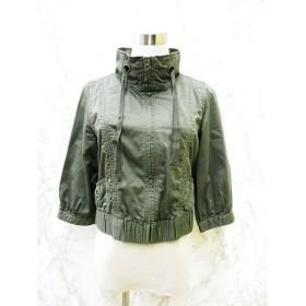 ペペジーンズ Pepe Jeans LONDON ジャケット ブルゾン ジップ 七分袖 綿100% コットン ミリタリー ショート丈 ギャザー グリーン 緑 S レディース 【中古】