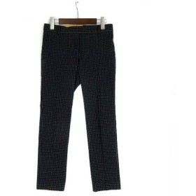 トゥモローランドコレクション TOMORROWLAND collection パンツ スラックス ドット アンクル テーパード スリム センタープレス 黒 34 ボトムス レディース
