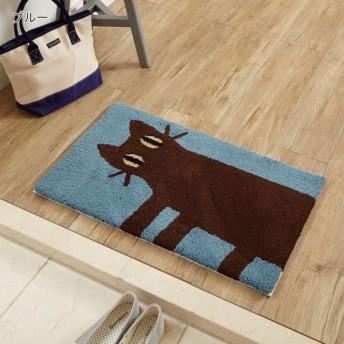 玄関マット おしゃれ マット 日本製 ベルメゾン 洗えるふわふわ玄関マット 見つめる猫 ブルー 約45×70