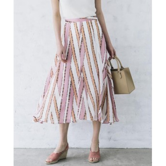 Viaggio Blu / ビアッジョブルー 【洗濯機OK】ストライプ×ドットプリントフレアスカート