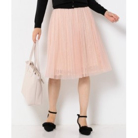 Feroux / フェルゥ 【洗える】チュールオンレースプリーツ スカート