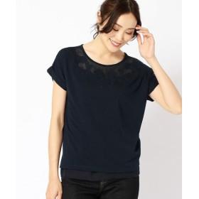 COMME CA ISM / コムサイズム カットワーク刺繍 ロング丈Tシャツ