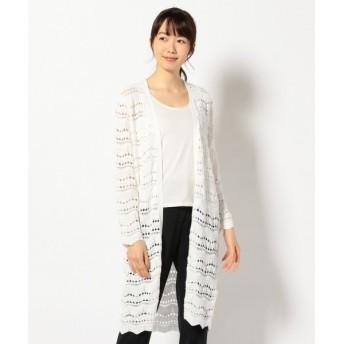 L size ONWARD(大きいサイズ) / エルサイズオンワード 【洗える】Cotton LaceStitch ニットカーディガン