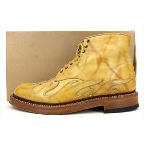 タカヒロミヤシタザソロイスト 13AW ブーツ rock'n roll tip boot. ロックンロール チップ ファイヤー パターン レザー 7 25.5 イエロー sg.0033 秋冬春 メンズ