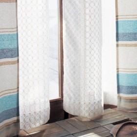 カーテン 安い おしゃれ レースカーテン ベルメゾン サークルモチーフのレースカーテン 約100×148 2枚