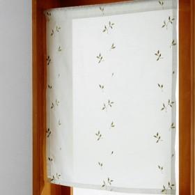 ボイルカーテン 小窓 カーテン UVカット ボイル 洗える 日本製 リビング 寝室 子供部屋 のれん 窓 出窓 キッチン おしゃれ リーフ 約60×50(1枚)
