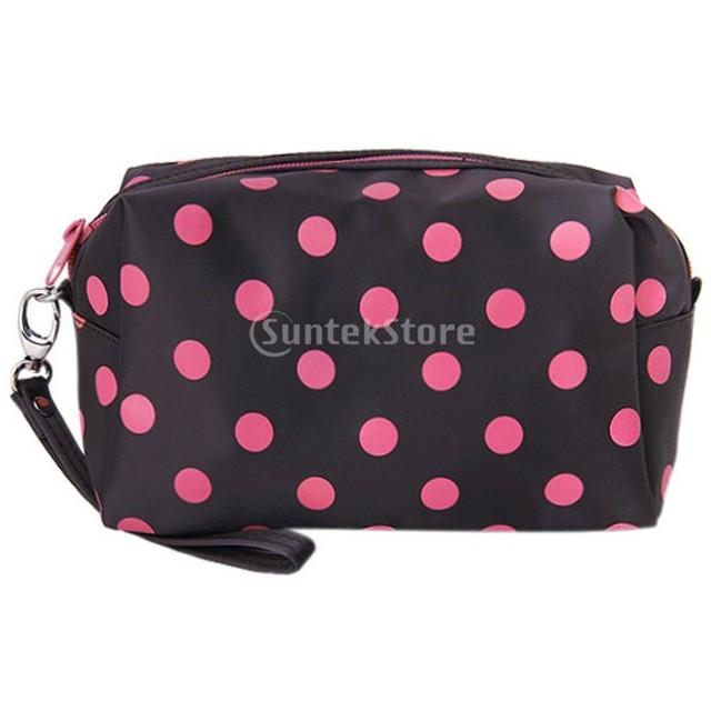 ジッパー水玉化粧ポーチ メイクバッグ ハンドケース (ブラウンとピンク)