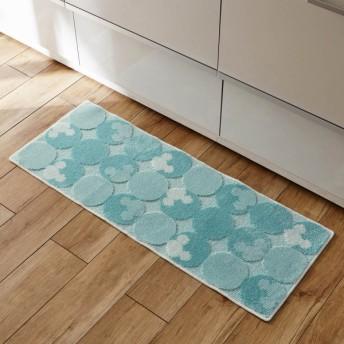 キッチンマット ディズニー ミッキー 洗える すべりにくい 抗菌 防臭 日本製 ブルー 約45×120