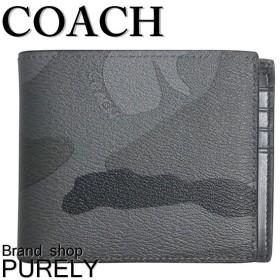 全品ポイント2倍 コーチ COACH 財布 メンズ カモフラージュ プリント コンパクト ID ウォレット 折り財布 F75101 FFK フォグ×カモフラージュ 迷彩