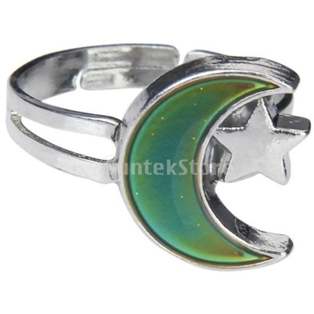 【Phenove】レディース リング 指輪 ムードリング 温度により変色 月と星の形 色が変わる 調節可能