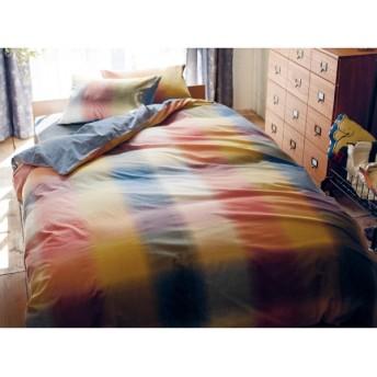 布団カバー 布団カバーセット ベルメゾン 先染め綿フラノ×シャンブレーの布団カバー3点セット 洋式シングル 和式シングル