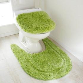 トイレマット トイレマットセット おしゃれ 北欧 ロング ふかふか ふわふわ グリーン ロング/温水洗浄便座