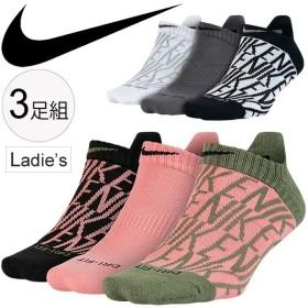 ナイキ NIKE レディース ソックス 3P WT DRI-FIT クッション GFX ノーショウ 女性 くるぶし丈 スニーカーソックス 靴下 スポーツ くつした 3足セット/SX5500