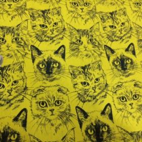 【110×100】猫フェイス 60ローンミラクルソフト生地(イエロー)