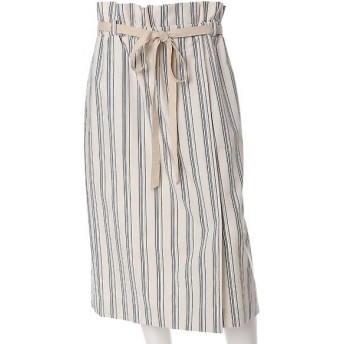 INED L / イネド(エルサイズ) 《INED》ストライプハイウエストタイトスカート