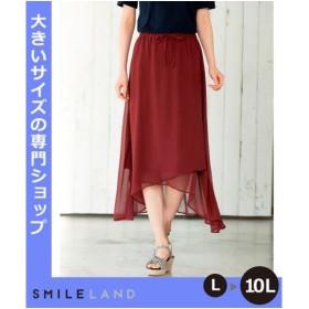 スカート 大きいサイズ レディース ニッセン nissen L LL 2L 3L 4L 5L 6L 8L 10L 楊柳素材の裾イレギュラーヘムロン
