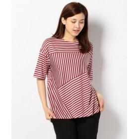 L size ONWARD(大きいサイズ) / エルサイズオンワード プライマリー天竺ボーダー Tシャツ