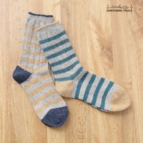 靴下 レディース ケーブル編み使いボーダーソックス グリーン×グレー 23〜25cm