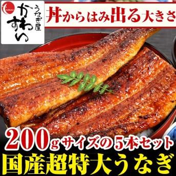 国産 うなぎ 蒲焼き 超特大サイズ 200g 5本セット ウナギ 鰻 送料無料