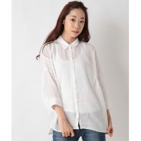 SHIPS for women / シップスウィメン リネン サイド タック ビッグシャツ