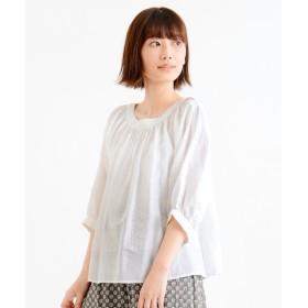NIMES / ニーム 綿シルク クロス刺繍 ラグランギャザーBL