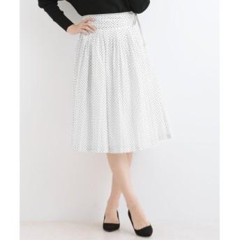 NIMES / ニーム 80/-ローンドットプリント 脇リボンスカート