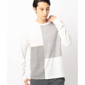 COMME CA ISM / コムサイズム ニットコンビパッチワークTシャツ